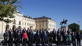 La traditionnelle photo de famille des participants du sommet du G20 de Saint-Pétersbourg, le 6 septembre 2013. Une famille divisée sur le dossier syrien.