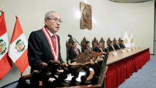 Pedro Gonzalo Chavarry lors de sa cérémonie d'intronisation en tant que procureur général du Pérou le 20 juillet 2018.