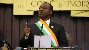 Guillaume Soro lors de l'annonce de sa démission du perchoir de l'Assemblée nationale ivoirienne, le 8 février 2019.
