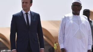 French President Emmanuel Macron with Mali's Ibrahim Boubacar Keïta in northern Mali in May