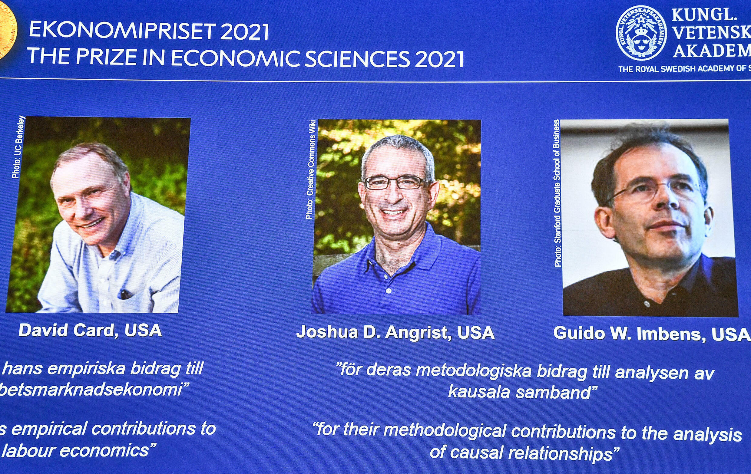 Canadian David Card, Israeli-American Joshua Angrist and Dutch-American Guido Imbens will share the $1.1 million prize for winning the Nobel in economics