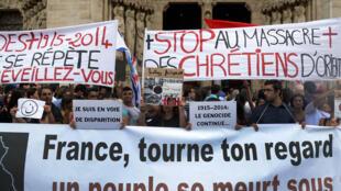 Une manifestation en soutien aux chrétiens d'Irak, le 27 juillet 2014 à Paris.