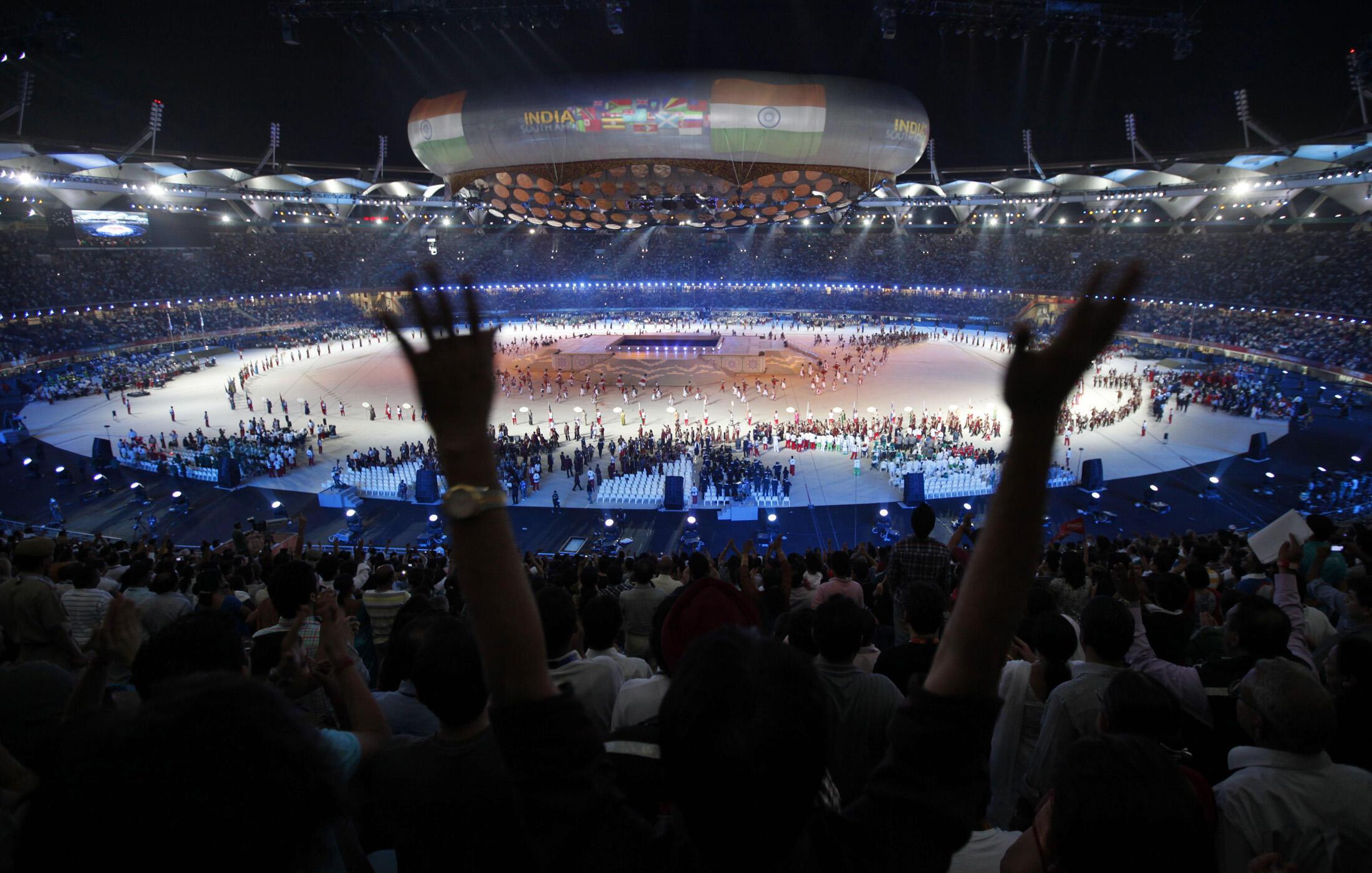Quang cảnh lễ khai mạc Đại hội thể thao khối Thịnh vượng chung trên sân vận động Jawaharlal Nehru  tối 3/10/2010