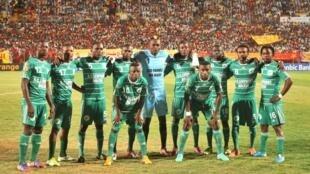 Les joueurs de l'AC Leopards avant la demi-finale de la Coupe de la confédération, à Khartoum, le 10 novembre 2012.