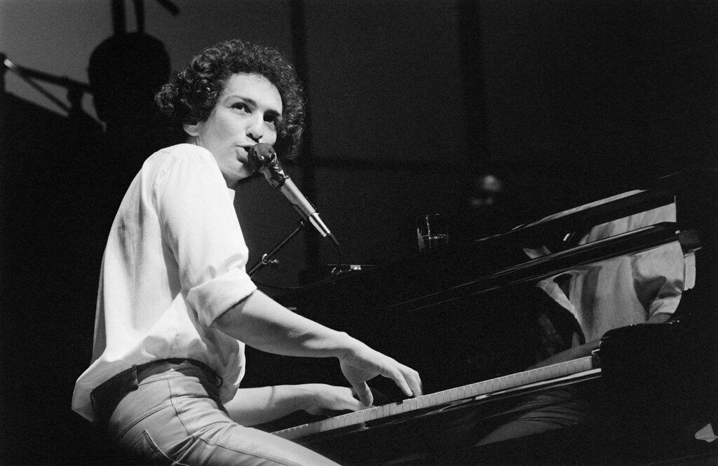 Michel Berger, le 15 avril 1982 sur la scène de l'Olympia.