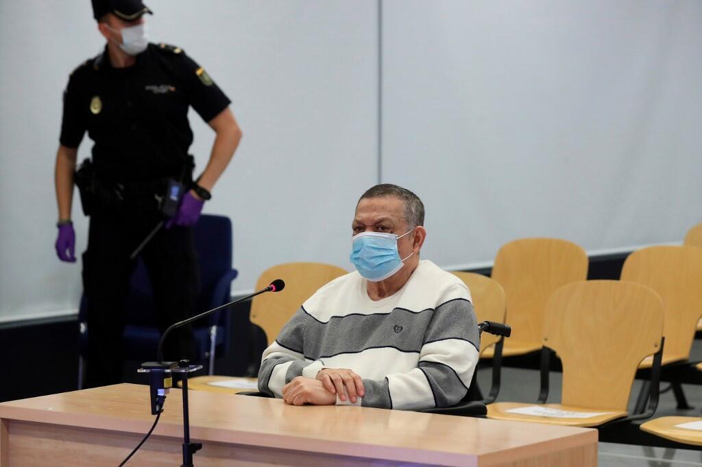 El ex coronel y vice ministro de Defensa, Inocente Montano, en una foto tomada durante el juicio en Madrid, 8 de junio de 2020.