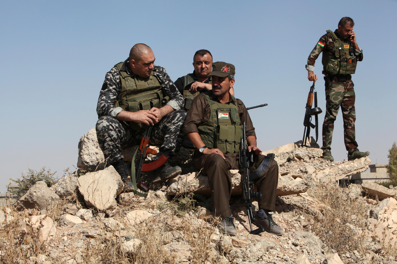 Des combattants peshmergas à Altun Kupri, le 20 octobre 2017.