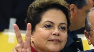 Dilma Rousseff después de votar, este 5 de octubre en Porto Alegre.