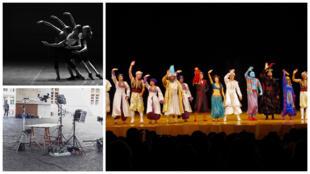 Fotomontagem peça de teatro ballet e filmagens