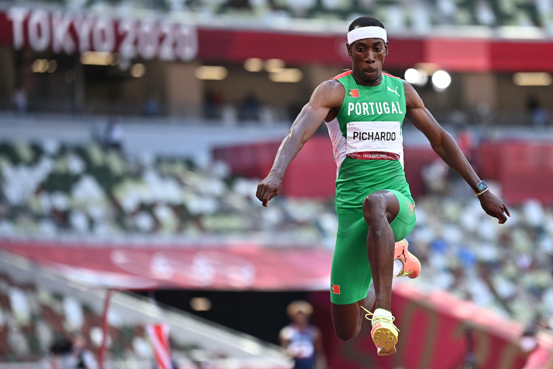 Le Portugais Pedro Pichardo, champion olympique du triple saut, le 5 août 2021 aux Jeux Olympiques de Tokyo 2020