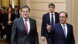 Mariano Rajoy et François Hollande à l'Elysée, le 1er décembre 2014.