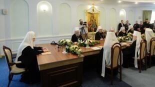 Une réunion du Saint-Synode de l'église orthodoxe russe à Minsk le 15 octobre 2018.