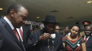 Goodluck Jonathan, le président nigérian (d.) et son homologue kényan Uhuru Kenyatta, à Abuja, lors d'une rencontre bilatérale, le 5 mai 2014.