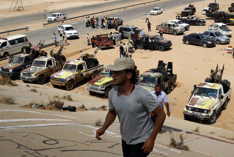 Wapiganaji wa Baraza la mpito wakiwa katika mji wa Sirte