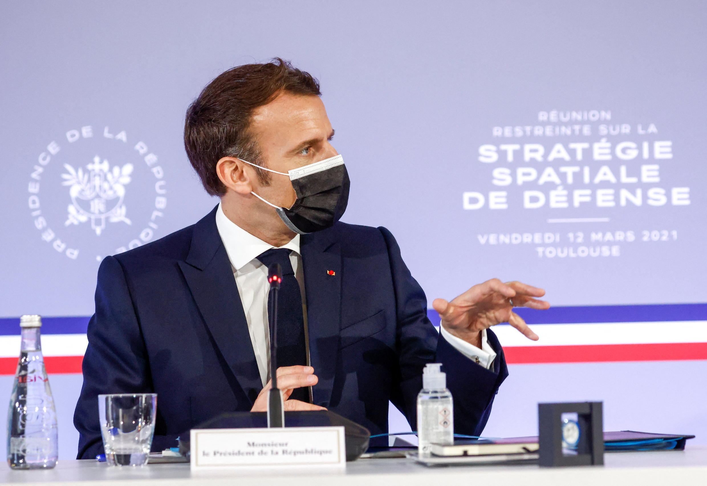 French President Emmanuel Macron at a meeting on defence space strategy in Toulouse, on 12 March, 2021.