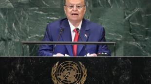 O Presidente do Iémen, Abd-Rabbu Mansour Hadi,quando discursava diante da Assembleia Geral das Nações Unidas em Setembro de  2018.embre 2018 à New York.