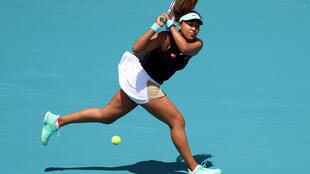 Japan's Naomi Osaka on the way to a second-round victory over Australian Ajla Tomljanovic at the Miami Open ATP and WTA hardcourt tennis tournament