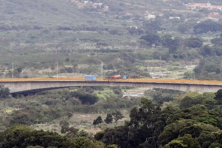 le pont de Tienditas, désert, à la frontière entre Tachira au Venezuela et Cucuta en Colombie, le 11 février 2019.