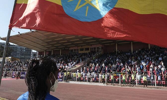 Dimbim yan Ethiopia da suka taru a wani dandali don bayar da gudumuwar jini ga mayakan kasar