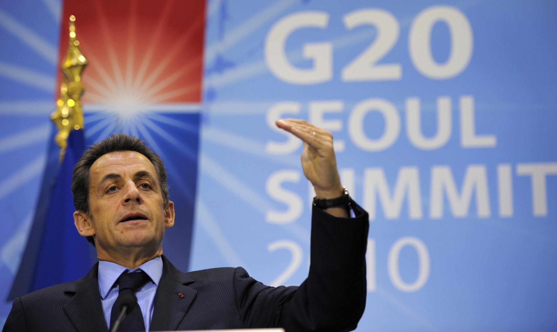 O presidente francês, Nicolas Sarkozy, no encontro do G20 em Seul na Coréia do Sul.