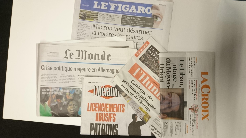 Primeiras páginas dos jornais franceses de 20 de novembro de 2017