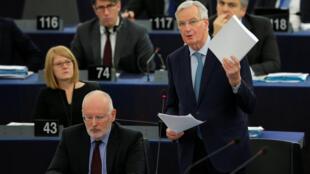 Trưởng đoàn đàm phán châu Âu Michel Barnier phát biểu tại Nghị Viện Châu Âu sau khi dự án Brexit bị nghị viện Anh bác bỏ, Strasbourg, France, ngày 16/01/2019