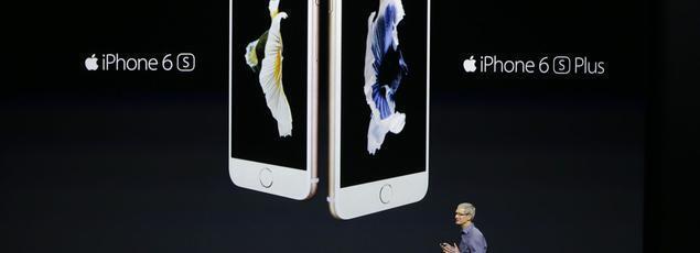 蘋果在舊金山舉行新品發表會,庫克介紹新款iPhone。(09/09/2015)