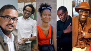La nouvelle génération d'écrivains africains: (de gauche à droite) David Diop, Max Lobé, Aminata Aïdara, Jean Bofane, Alain Mabanckou