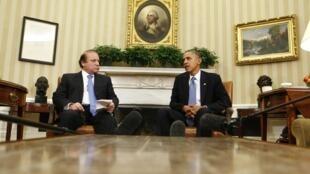 Barack Obama with Pakistan's Prime Minister Nawaz Sharif at the White House, 23 October, 2013