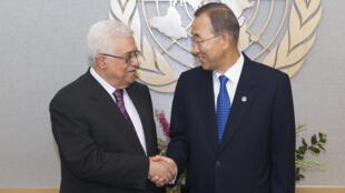 O secretário-geral da ONU, Ban Ki-moon (à direita) recebe Mahmoud Abbas, presidente da Autoridade Nacional Palestina, que deve pedir na sexta-feira o reconhecimento de um estado palestino como membro da ONU.