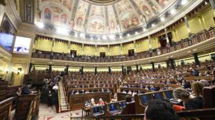 Una vista general del Congreso de los Diputados tomada durante una sesión parlamentaria del 23 de julio de 2019 en Madrid