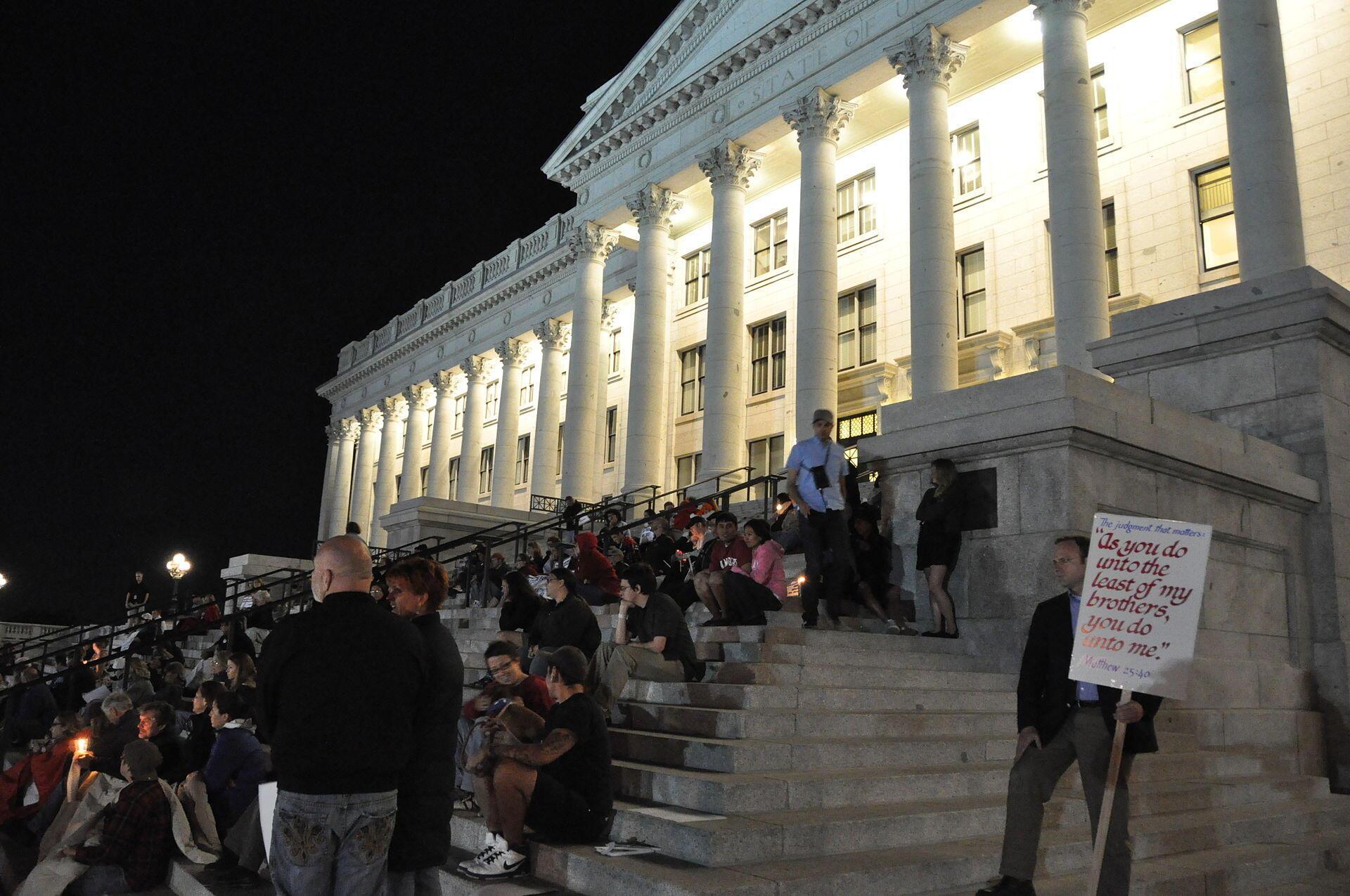 Une manifestation contre l'exécution de Ronnie Lee Gardner, face au Capitole de l'Utah, en septembre 2010.