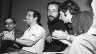 Jean-Luc Godard, François Truffaut, Louis Maille y Roman Polanski, en mayo de 1968.