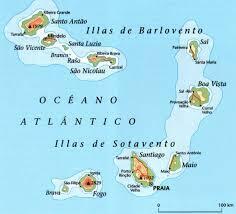 Mapa das ilhas de Cabo Verde
