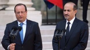 President François Hollande with Syrian opposition leader Ahmad al-Jarba on Thursday