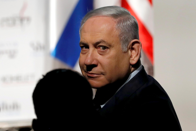 Waziri Mkuu wa Israeli Benjamin Netanyahu akihudhuria mkutano huko Jerusalemu Januari 8, 2020.
