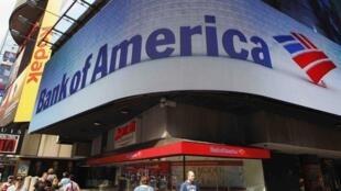 Fachada del Bank of America (Times Square, Nueva York, el 22 de junio), uno de los bancos cuya nota devaluó Mood'ys recientemente,