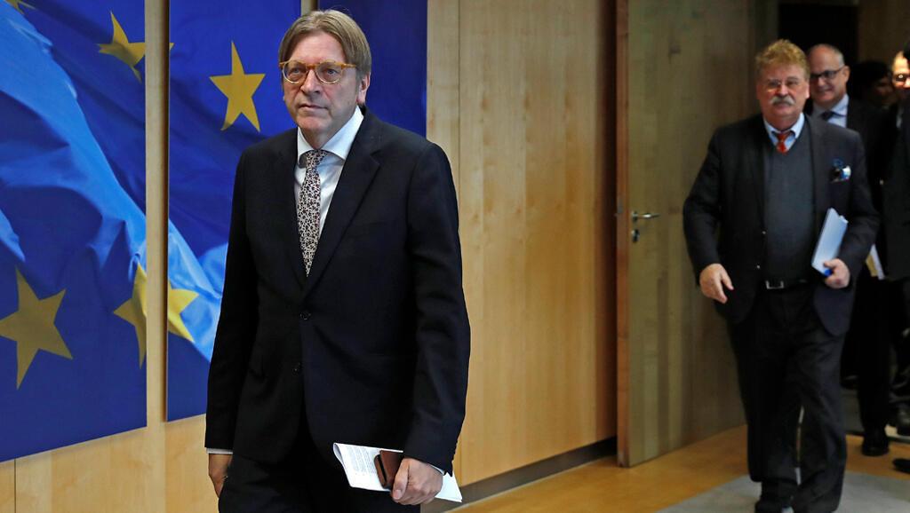Guy Verhofstadt à son arrivée pour une réunion sur le Brexit, à Bruxelles, le 4 décembre 2017.
