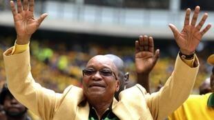 Le président sud-africain et leader de l'ANC Jacob Zuma, au stade Mbombela, le 11 janvier 2014.
