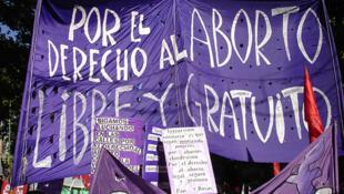 Manifestación de apoyo a la despenalización del aborto.