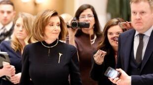 Chủ tịch Hạ Viện, thuộc đảng Dân Chủ, Nancy Pelosi, tại trụ sở Quốc Hội, Washington, ngày 18/12/2019