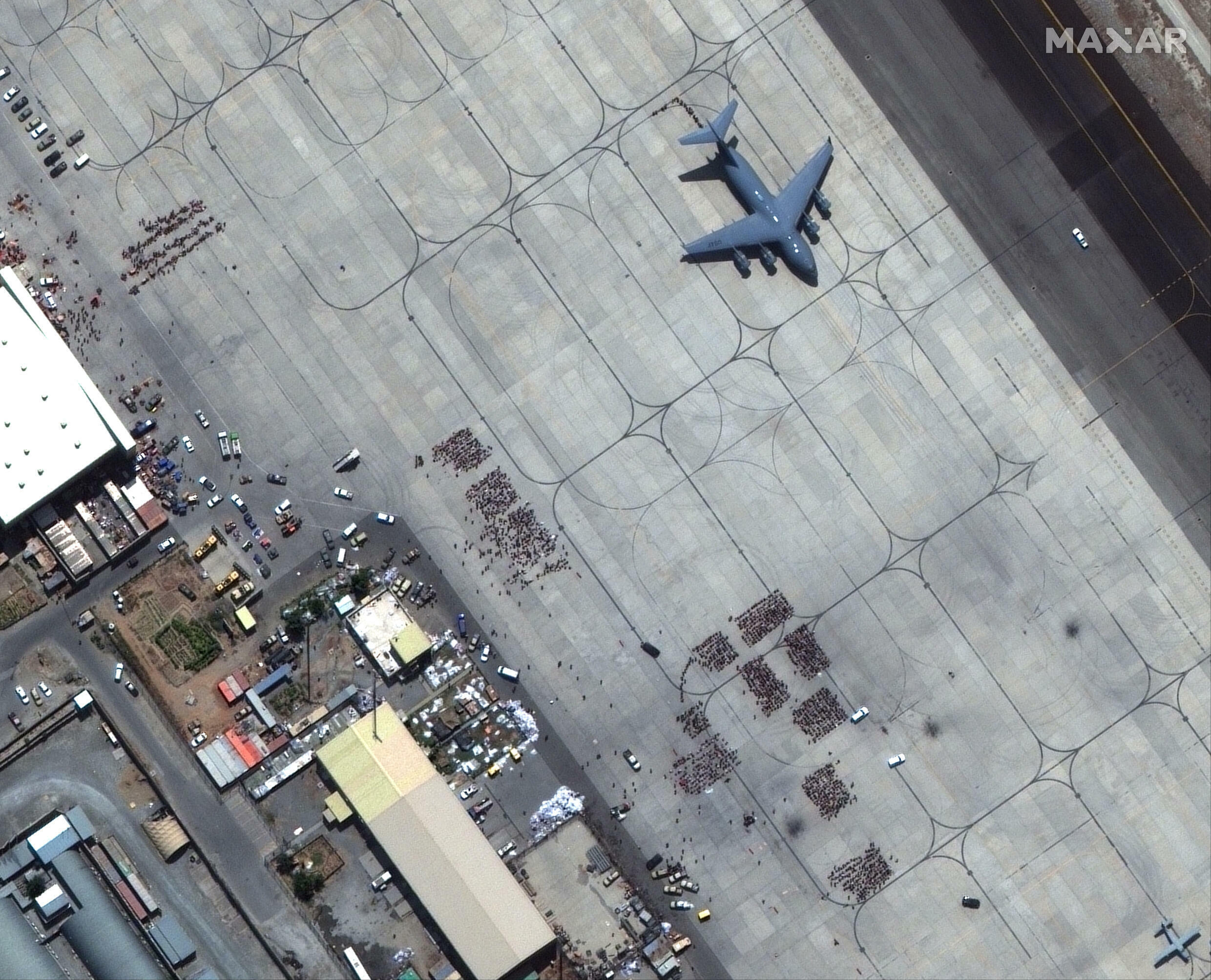 The Hamid Karzai International Airport in Afghanistan (tarmac pictured in this handout satellite image released by Maxar Technologies) is in a bad state, according to US officials