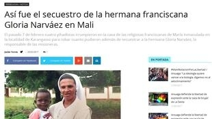 La religieuse colombienne soeur Gloria enlevée au Mali fait partie des titres de la presse en Colombie.