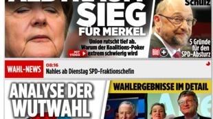 «Une victoire cauchemardesque pour Merkel». Le site internet du «Bild», tabloïd et premier quotidien d'Allemagne, le 25 septembre 2017.