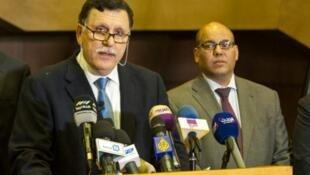 Fira Ministan Libya, Fayez el-Sarraj ranar  Februari 15, 2016 yana jawabi a kasar Morocco