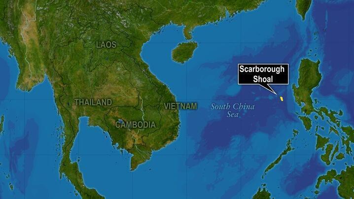 圖為南海及黃岩島海域圖
