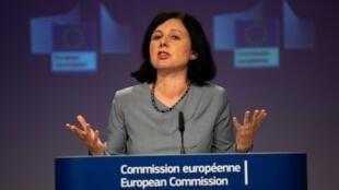 Věra Jourová lors d'une conférence de presse à Bruxelles, le 10 juin 2020.