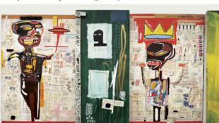 Une affiche de l'exposition de Jean Michel Basquiat à la Fondation Louis Vuitton à Paris. (capture d'écran)