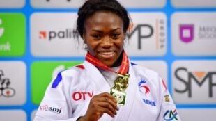 Clarisse Agbegnenou, lors des derniers Mondiaux de judo à Bakou, en 2018.