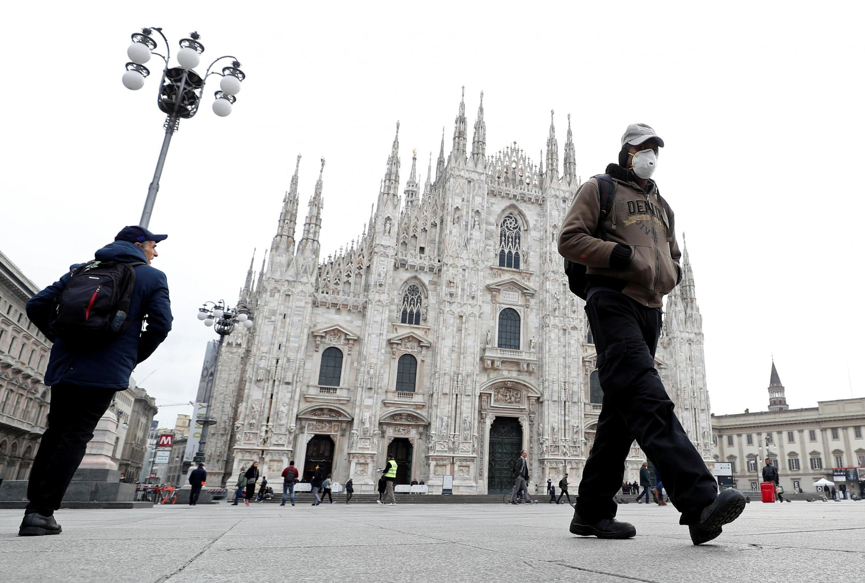 受疫情重創的意大利北部重鎮米蘭街頭,2020/03/05